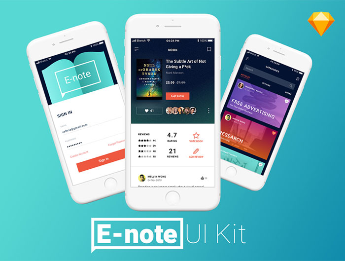 Free-UI-Kit-E-Note-App-Concept-For-Sketch
