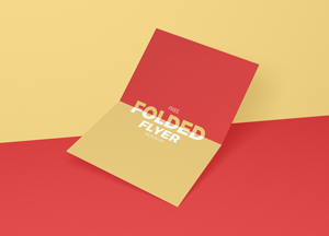 Free Centre Folded Flyer Mockup PSD