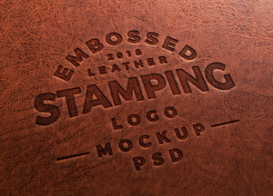 Free Embossed Leather Stamping Logo Mockup PSD 2018