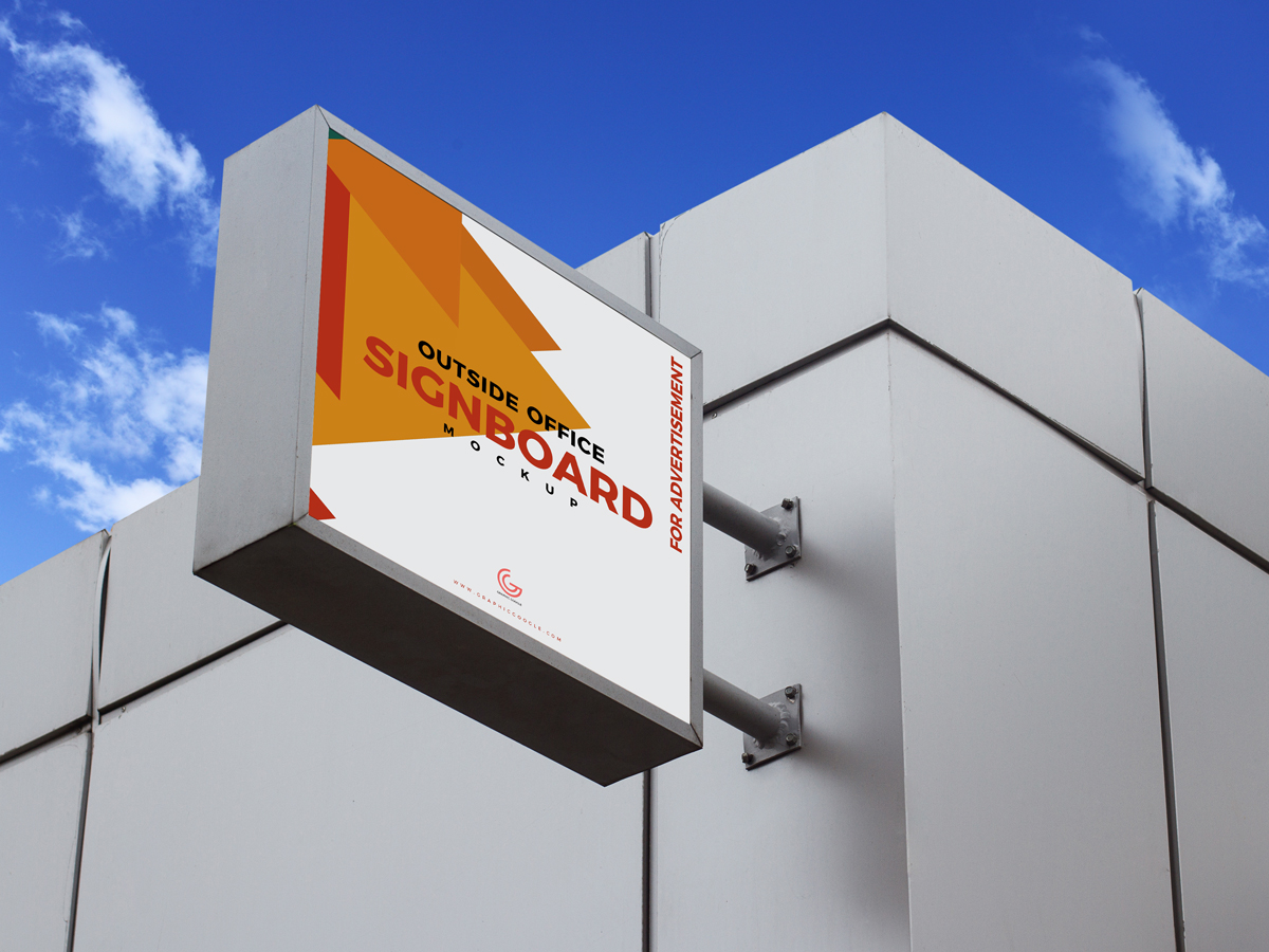 Free Outside Office Signboard Mockup Psd For Advertisement