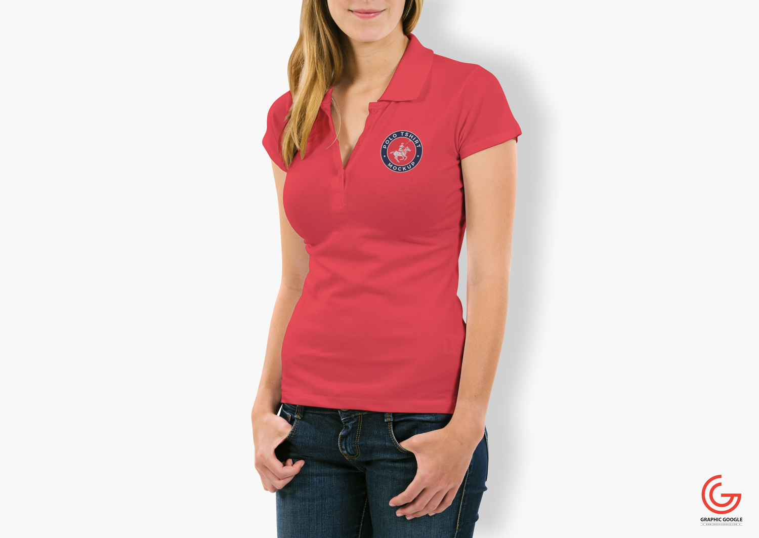 Free-Woman-With-Polo-T-Shirt-Mockup-PSD-1
