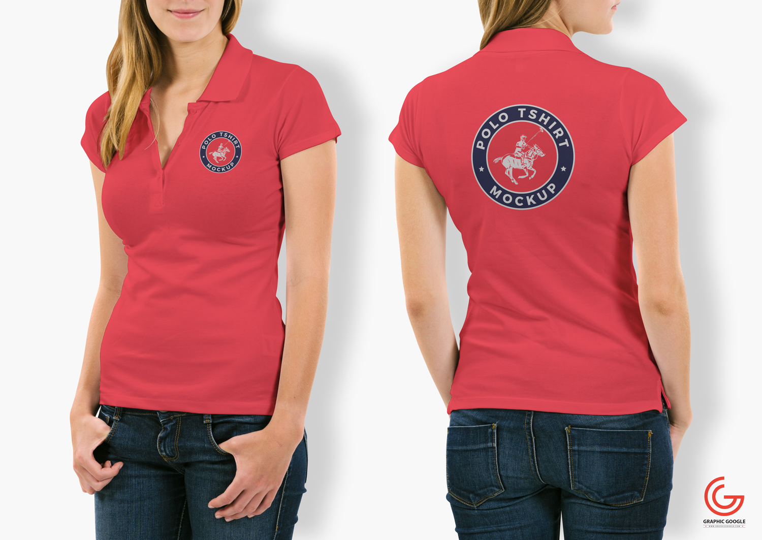 Free-Woman-With-Polo-T-Shirt-Mockup-PSD