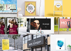 50 Free High Quality PSD Poster Sign Billboard Mockups