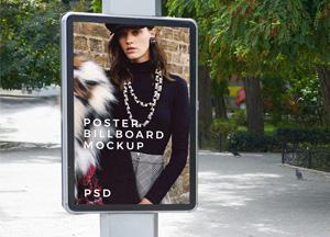 Free Outdoor Park Poster Billboard Mockup For Advertisement