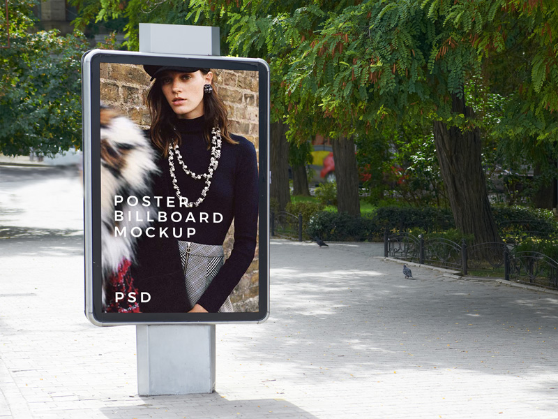 Free-Outdoor-Park-Poster-Billboard-Mockup-For-Advertisement-2018