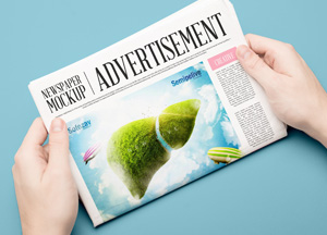 Free Advertisement Newspaper Mockup PSD 2018
