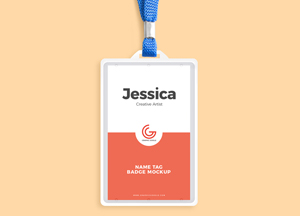 Free Name Tag Badge Mockup PSD 2018