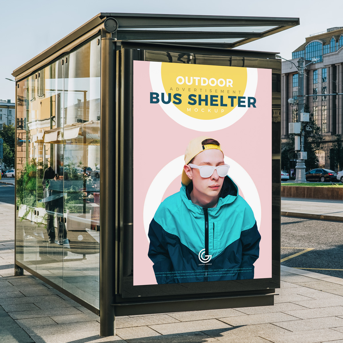 Free-Outdoor-Advertisement-Bus-Shelter-Mockup-PSD-2018