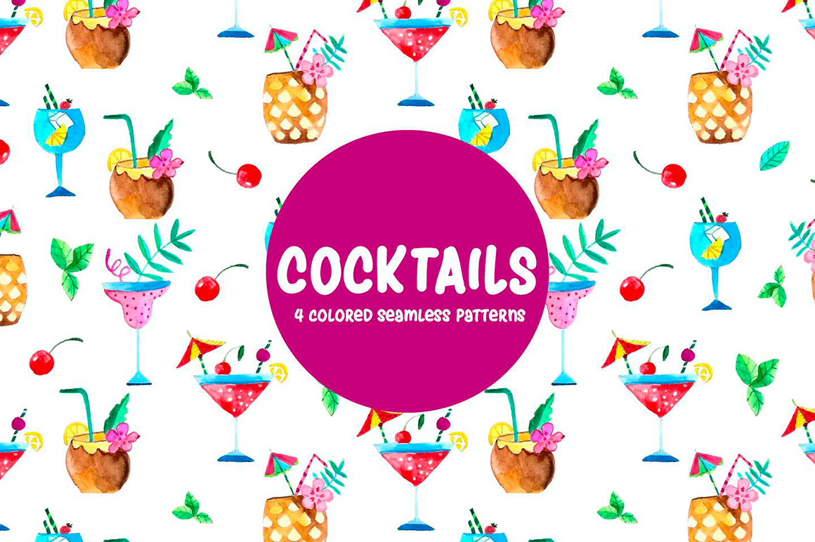 cocktails-watercolor-vector-seamless-free-pattern-3