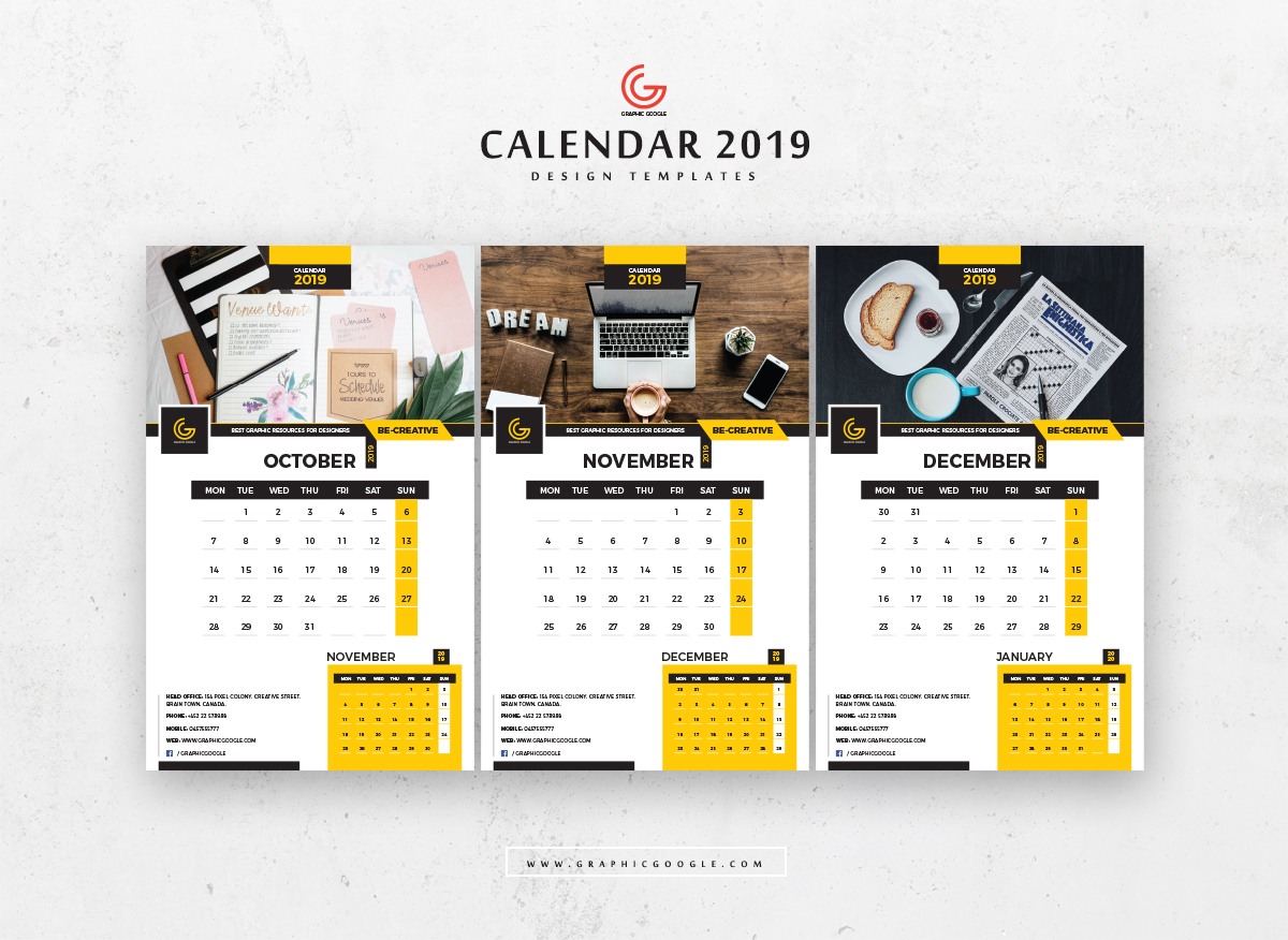 Calendar 2019 Editable Illustrator