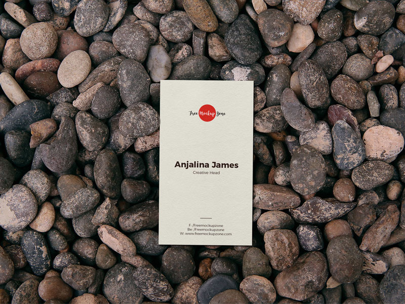 Free-Business-Card-On-Stones-Mockup