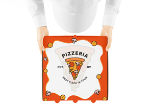 Free Man Holding Pizza Box Mockup For Packaging Presentation