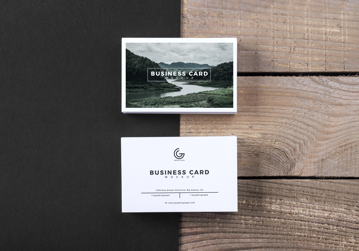 Free-Modern-Business-Card-Mockup-PSD-With-Wooden-Texture-Background
