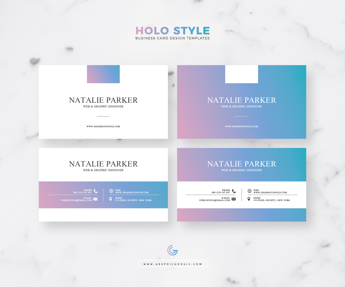 Free Modern Holo Style Business Card Design Templates 2018