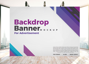 Free Backdrop Banner Mockup PSD For Indoor Advertisement