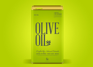 Free Modern Olive Oil Tin Can Mockup PSD
