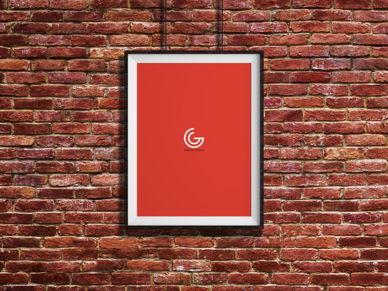 Free Bricks Wall Hanging Frame Poster Mockup Psd Graphic Google Tasty Graphic Designs Collectiongraphic Google Tasty Graphic Designs Collection