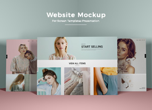 Free Website Mockup PSD For Screen Templates Presentation