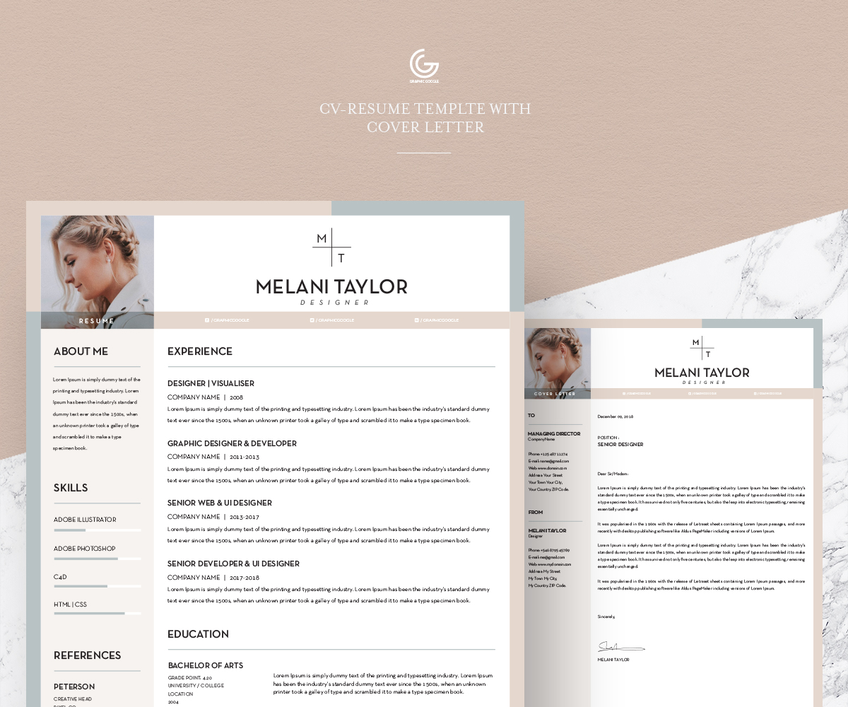 free cv-resume template with cover letter for pro designers - graphic google