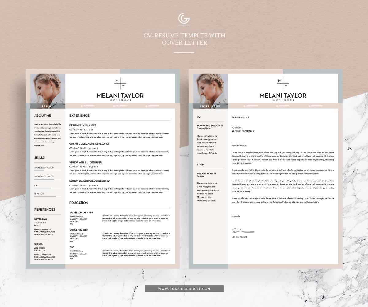Free CV-Resume Template With Cover Letter For Pro Designers ...