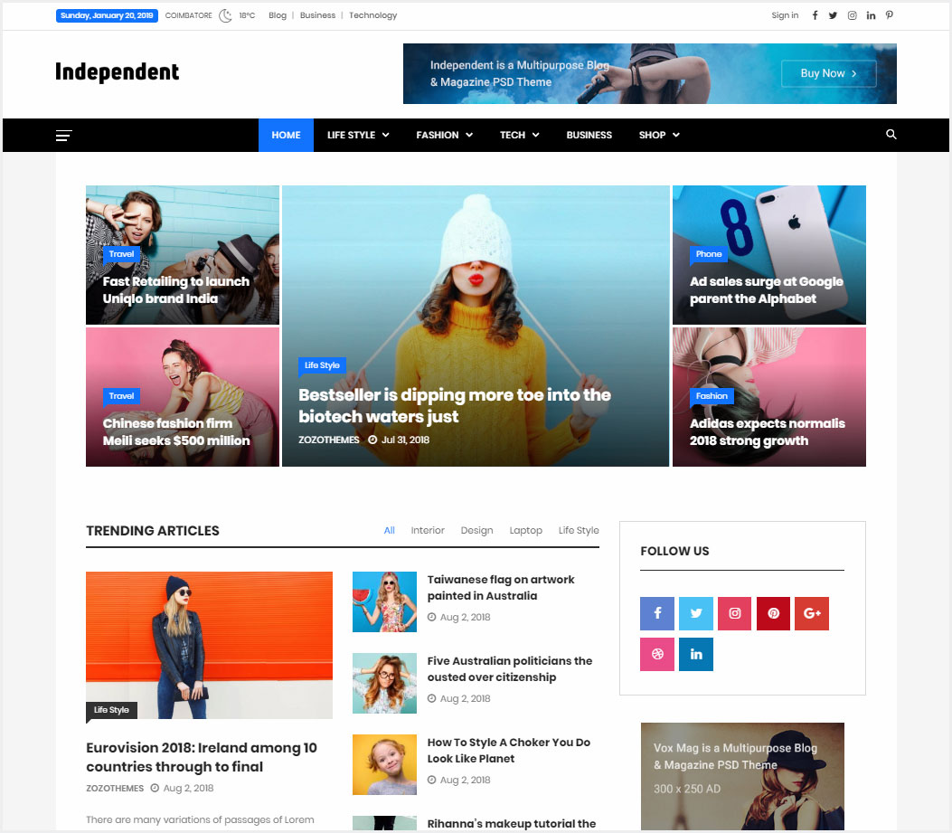 Independent-Multipurpose-Blog-&-Magazine-Theme