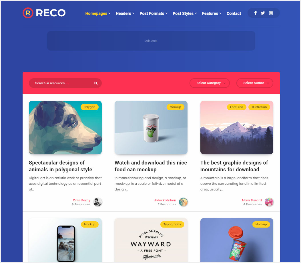 Reco-Minimal-Theme-for-Freebies