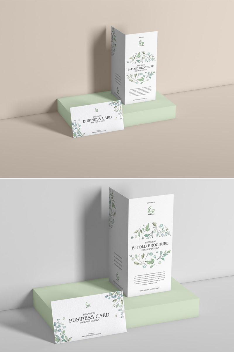 Free-PSD-Bi-Fold-Brochure-With-Business-Card-Mockup-Design-600