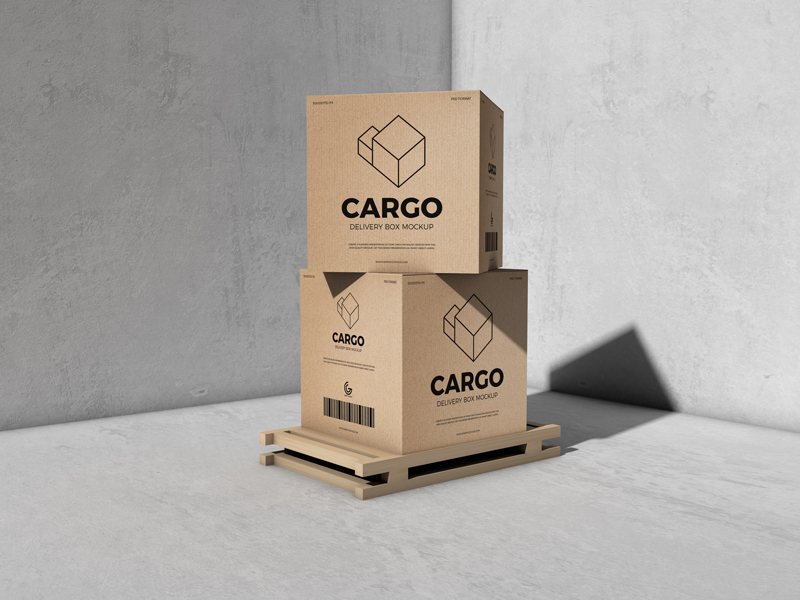 Free-Packaging-Cargo-Delivery-Box-Mockup