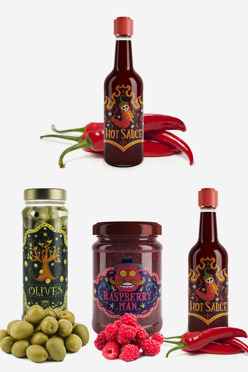 Creative-Packaging-Concept-For-Hot-Sauce,-Raspberry-Jam-And-Olives