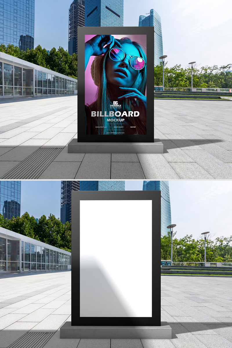Free-Outdoor-Office-Vertical-Billboard-Mockup