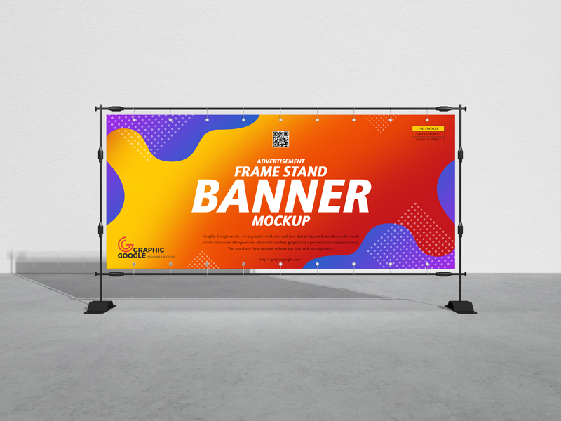 Free-Advertisement-Frame-Stand-Banner-Mockup