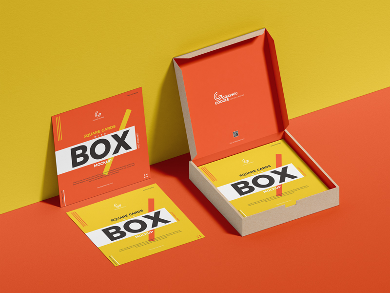 Free-Square-Cards-With-Box-Mockup