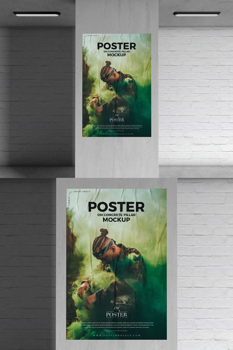 Free-Concrete-Pillar-Glued-Paper-Poster-Mockup