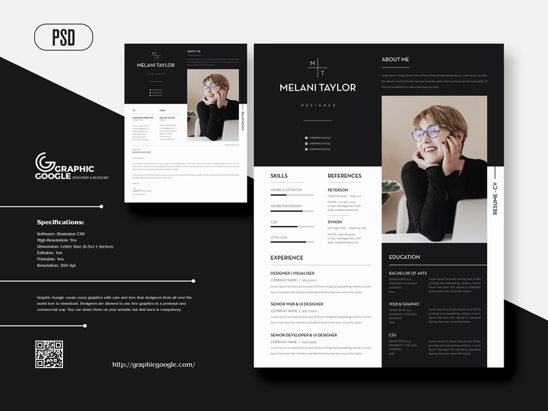 Free-Creative-Modern-CV-Resume-With-Cover-Letter-For-Designers-1