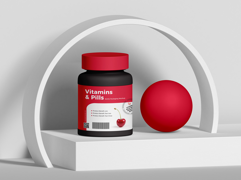 Free-Vitamins-And-Pills-Bottle-Packaging-Mockup