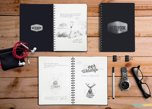 Free Notebook Mockup with Elements