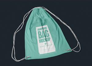 Free Fabric Drawstring Bag Mockup For Designers