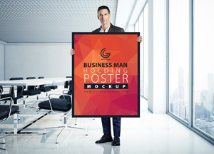 Business Man Holding Poster Mockup