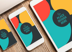 Free Business Card, Smart Phone and Tablet Mock-up PSD