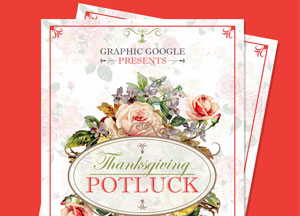 Free Potluck Thanksgiving Flyer Template Design PSD