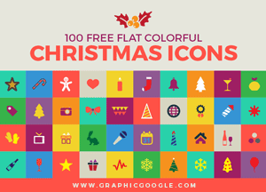 100 Free Flat Colorful Christmas Icons