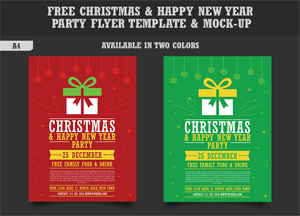 Free Christmas & Happy New Year Party Flyer Template & Mock-up