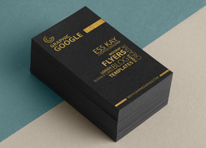 Free Golden Foil Texture Business Card Mock-up Psd