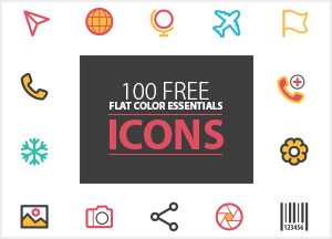 100 Free Flat Color Essentials Icons Ai (Vector File)