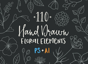 Free 110 Hand Drawn Floral Elements Ai & Psd