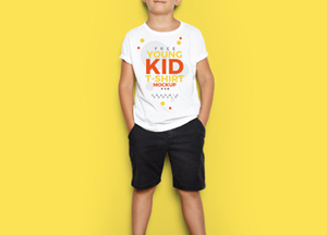 Free Young Kid T-Shirt MockUp PSD