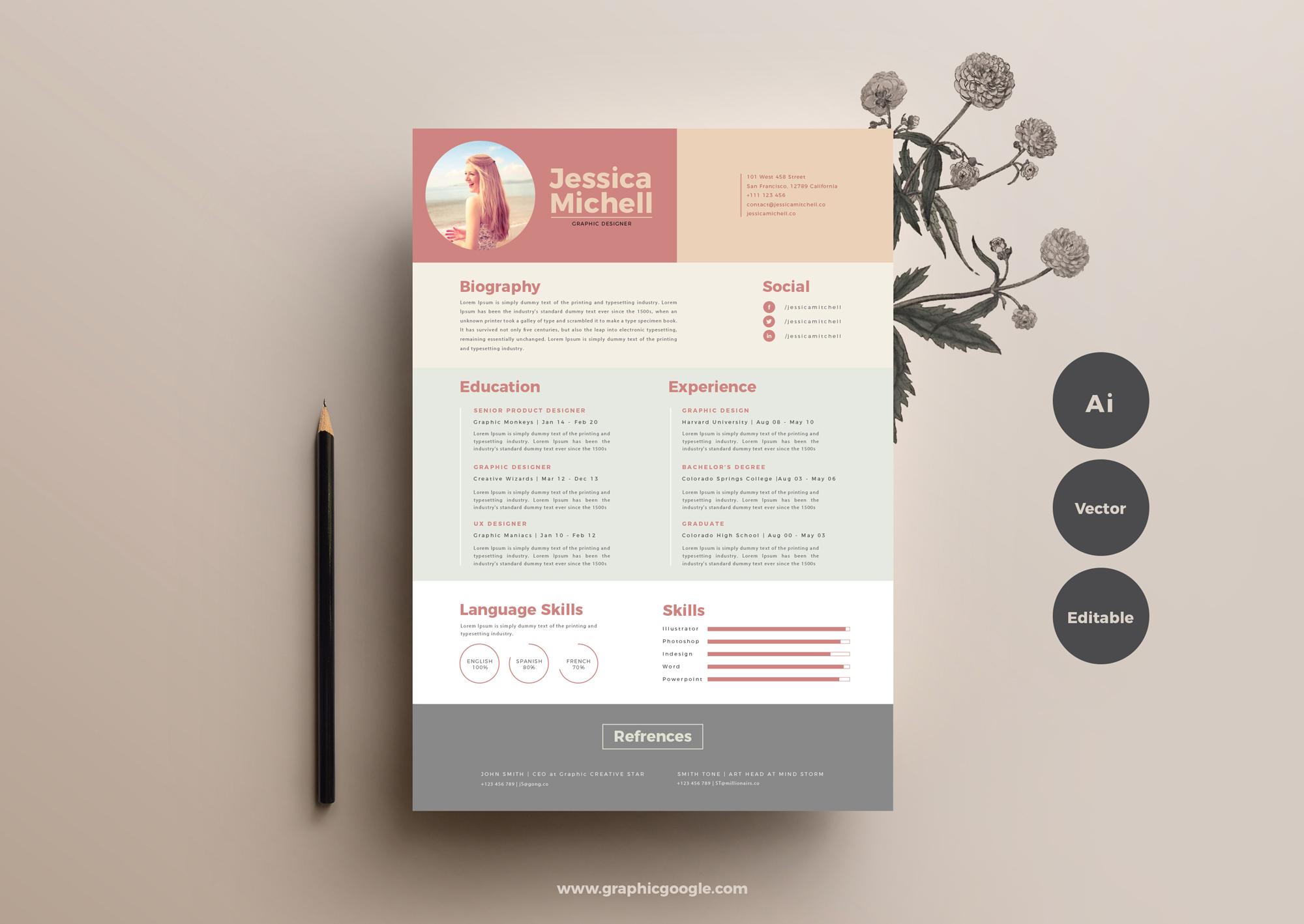 Elegant Resume from graphicgoogle.com