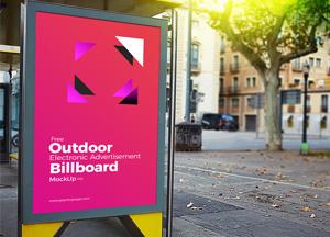 Free Outdoor Electronic Advertisement Billboard Mockup PSD