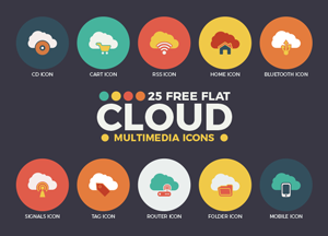 25 Free Flat Cloud Multimedia Web Icons