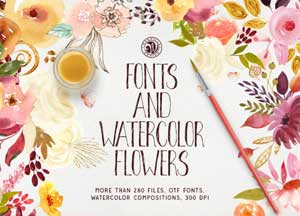 280+ Breathtaking Beautiful Hand Drawn Fonts Collection With Watercolor Flowers